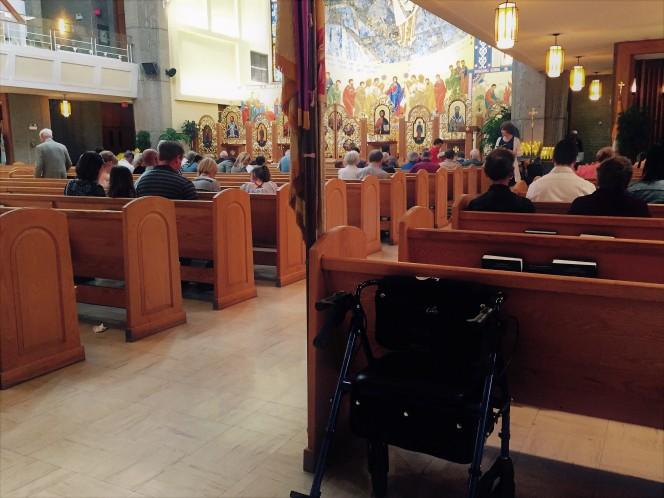 walker in church