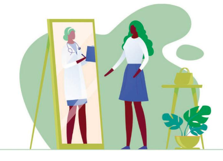 Illustration of a woman dressed casually looking into a mirror, where she sees herself as a doctor